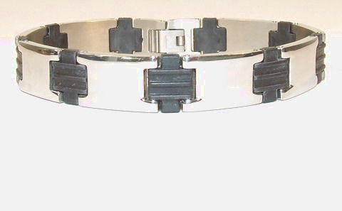Edelstaal RVS armband met stukjes zwart rubber