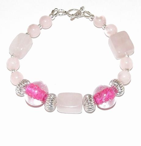 Armband roze 999 | Armband halfedelstenen/glaskralen roze