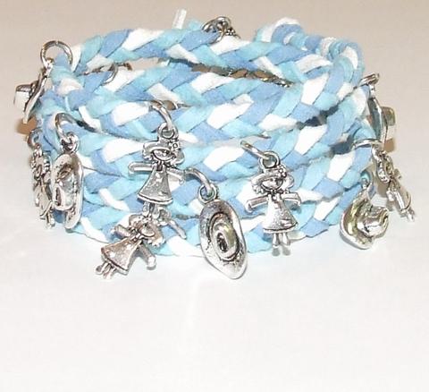 Wikkel armband met bedels turquoise/wit/blauw