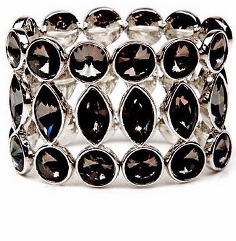 Armband breed 04126 | Brede armband met strass zwart/grijs