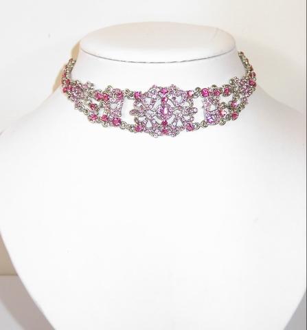 Chocker roze 9259 | Chocker bezet met roze strass steentjes
