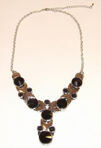 Collier zwart 00082 | Collier met zwarte strass stenen