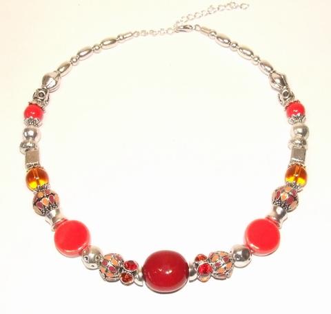 Ketting rood 33443 | Ketting met rode natuurstenen