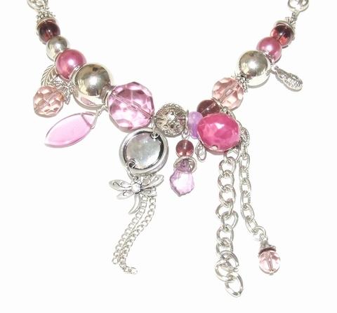 Ketting paars/roze 89321   Ketting kralen bedels paars/roze