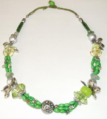 Ketting groen 98567 | Groene ketting met bedels