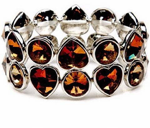 Armband strass bruin 03127 | Armband met bruine strass