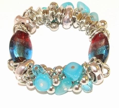 Armband turquoise 20222 | Armband steentjes/kralen turquoise