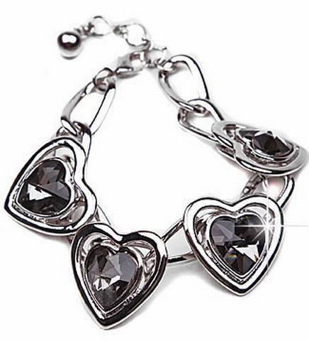 Armband hart 03129 | Armband met strass harten zwart/grijs