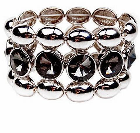 Armband strass 12121 | Armband met strass zwart/grijs