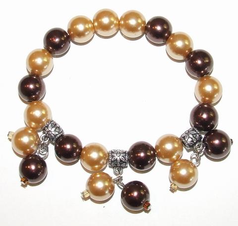 Armband bruin 03129 | Armband met strass en bedels