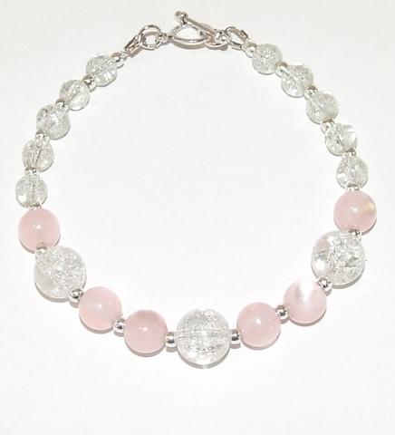 Armband roze 689 | Armband met roze en heldere kralen