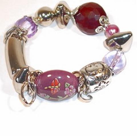 Armband paars 7217 | Armband paarse/zilverkleurige kralen