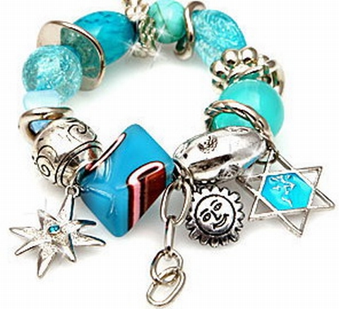 Armband turquoise 00312 |Trendy armband met bedels turquoise