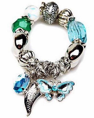 Armband 00313 | Armband kralen en bedels turquoise-groen