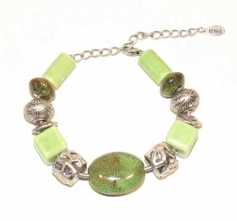 Armband groen 33551 | Armband met groene natuursteen