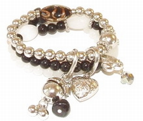 Armband zwart-wit 94560 | Armband met bedels zwart/wit