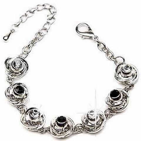Armband strass 0051 | Armband met heldere/zwarte strass