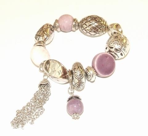 Armband paars 50998 | Armband met bedels paars tinten