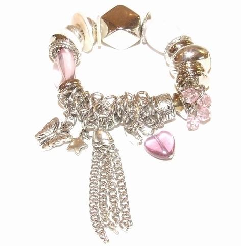 Armband bedels paars 50999 | Paarse armband met bedels