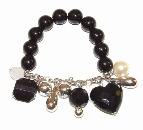 Armband zwart 0712 | Zwarte armband met bedels