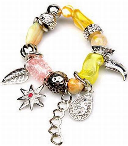 Armband geel 1146 | Trendy gele armband met bedels