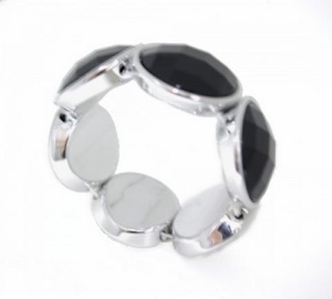 Armband zwart 33003 | Trendy armband met zwarte strass