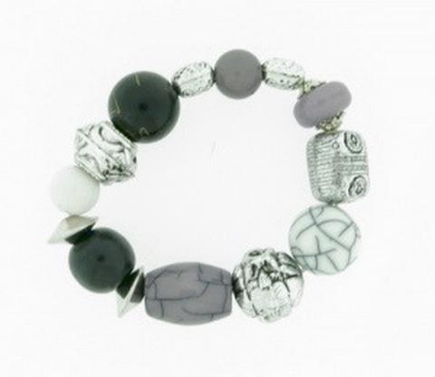 Armband zwart/grijs 51513 | Speelse armband zwart/grijs