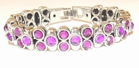 Armband Josh 50027 | Josh stijl armband met paarse strass