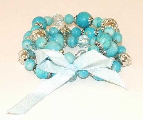 Armband turquoise 8632111 | Armband kralen+strik turquoise