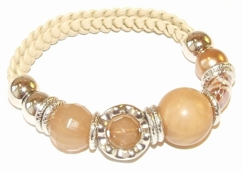 Armband beige 78773 | Gevlochten armband met kralen beige