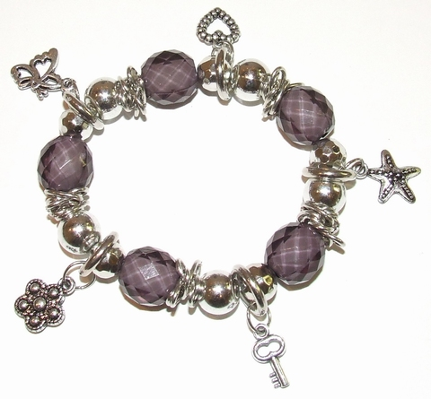 Armband paars 19500 | Donkerpaarse armband met bedels
