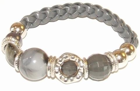 Armband grijs gevlochten 99880 | Gevlochten grijze armband