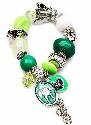 Armband groen 1233 | Trendy groene armband met bedels