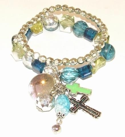 Armband 7037 blauw+groen | Armband met bedels blauw/groen