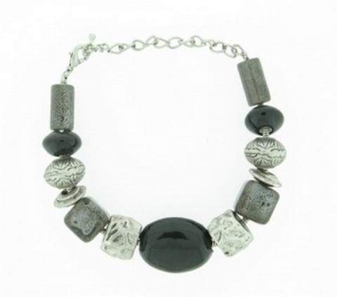 Armband zwart+grijs 41411 | Armband natuursteen zwart/grijs