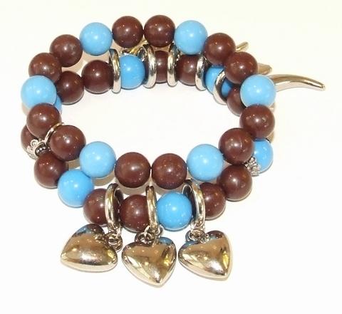 Armband blauw+bruin 600601 | Armband met bedels blauw/bruin