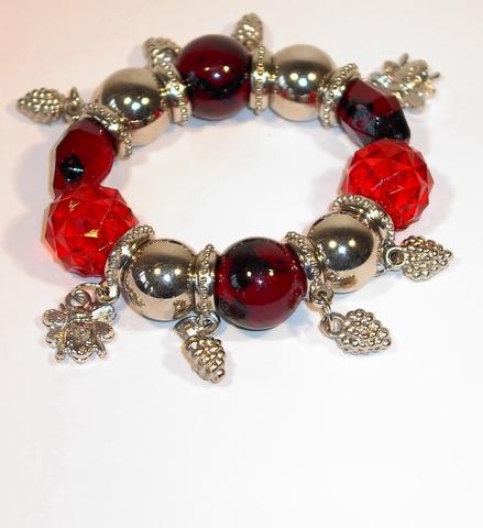 Armband rood 7214 | Rode armband met bedels