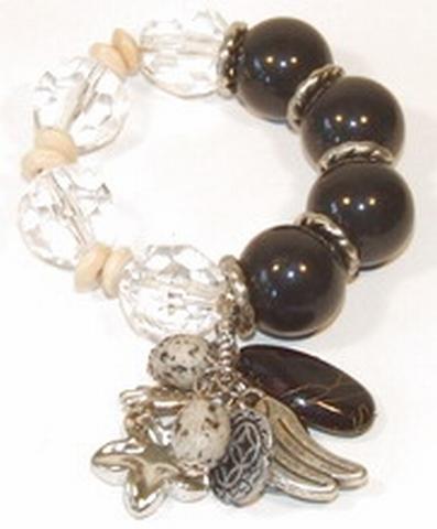 Armband zwart+helder 88991 | Armband met bedels zwart/helder