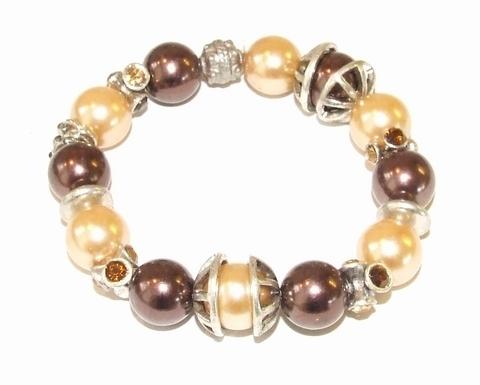 Armband parel bruin 7948 | Bruine parel met strass armband