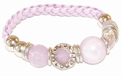 Armband lila 89077 | Gevlochten armband met kralen lila
