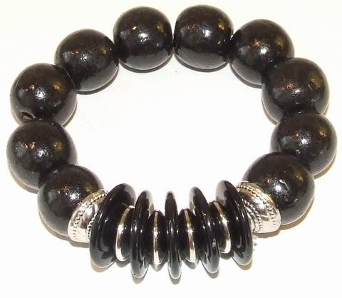 Armband zwart 98670  | Armband met zwarte houten kralen