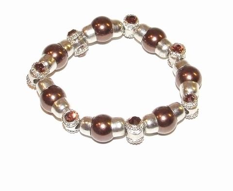 Armband bruin 900401 | Armband met bruine parels/strass