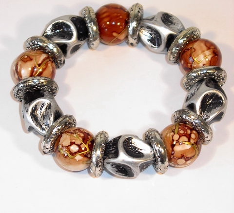 Armband bruin 1003 | Trendy bruine armband met kralen