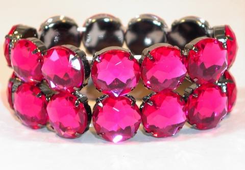 Armband met strass stenen hard-roze
