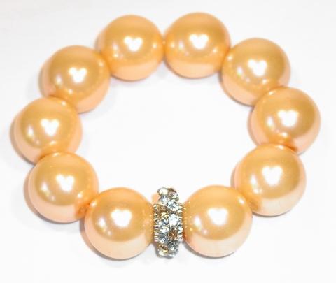 Armband parels 7954 | Armband met grote parels en strass