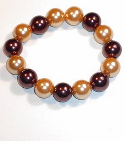 Armband bruin 1099 | Armband lichte en donkerbruine parels