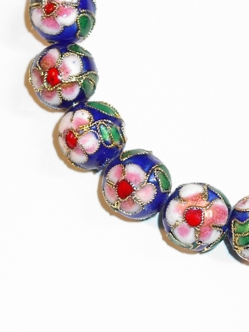 Armbandje blauw 8492 | Armbandje blauwe kralen met bloem
