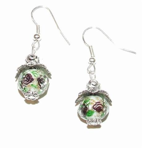 Oorbellen groen 00880   Oorbellen met kristal rondel