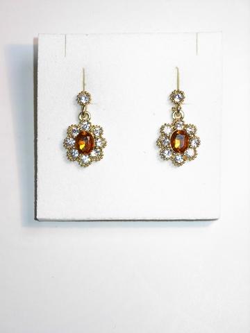 Oorbellen 8742 | Oorbellen strass en amberkleurige steen