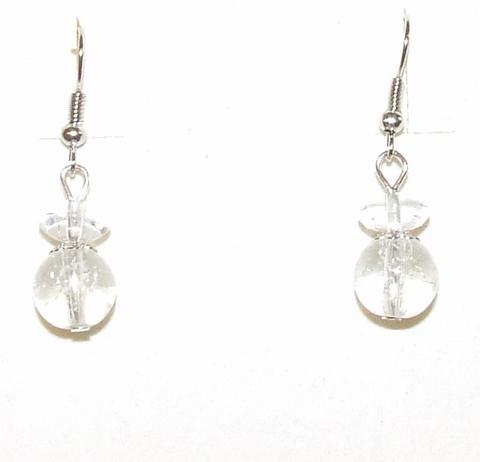 Oorbellen helder 6120 | Oorbellen glaskralen/metaal helder